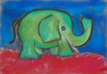 Kinderzimmerbild Elefant - Little Walking Wolf