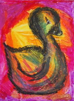 Kinderzimmerbild: Ente auf buntem Hintergrund - Little Walking Wolf