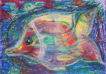 Kinderzimmerbild Fisch mit buntem Hintergrund - Little Walking Wolf