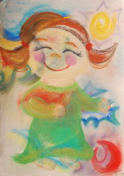 Kinderzimmerbild: Fröhliches Mädchen - Little Walking Wolf