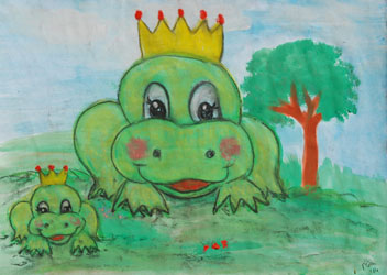 Kinderzimmerbild: Froschkönige - Little Walking Wolf