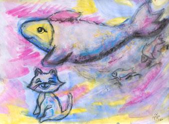 Kinderzimmerbild: Kleine Katze, großer Traum