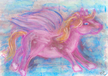 Kinderzimmerbild: Pinker Pegasus - Little Walking Wolf