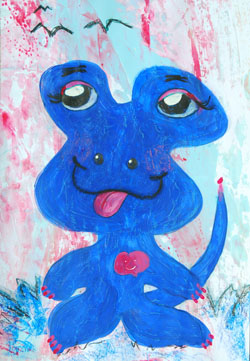 Kinderzimmerbild: Blauer Alien - Little Walking Wolf