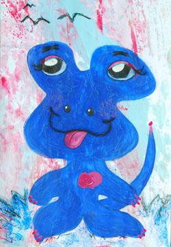 Kinderzimmerbild: Blauer Alien - Little Walking Wolf