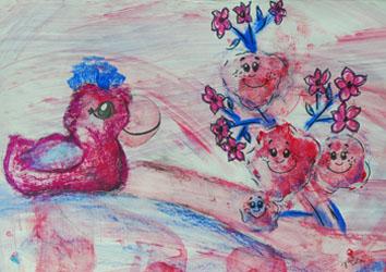 Kinderzimmerbild: Ente mit fröhlichen Erdbeeren - Little Walking Wolf