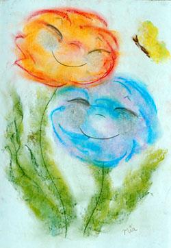 Kinderzimmerbild: Kuschelnde Blumen - Little Walking Wolf