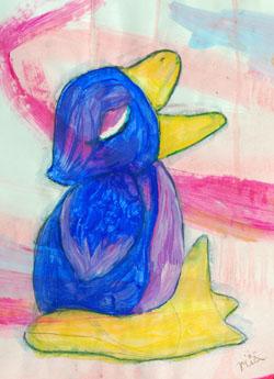 Kinderzimmerbild: Schnabel auf - Little Walking Wolf