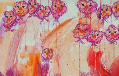Kinderzimmerbild: Wolkenluftballons - Little Walking Wolf