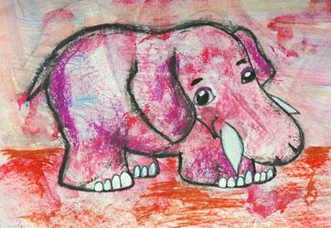 Kinderzimmerbild: Rosa Elefant - Little Walking Wolf