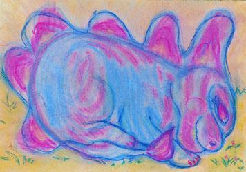 Kinderzimmerbild: Schlafender Dino - Litlle Walking Wolf