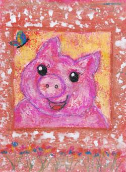 Kinderzimmerbild: Schweinchen - Little Walking Wolf