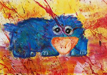 Kinderzimmerbild: Blaues Tier