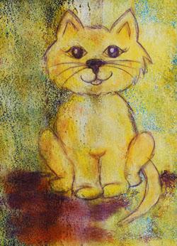 Kinderzimmerbild: Gelbe Katze - Little Walking Wolf