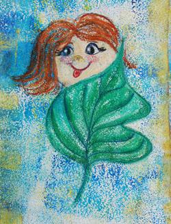Kinderzimmerbild: Mädchen mit Blatt - Little Walking Wolf
