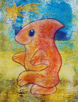 Kinderzimmerbild: Oranger Alien - Little Walking Wolf