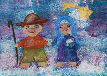 Winterbild/Weihnachtsbild Maria und Josef - Little Walking Wolf