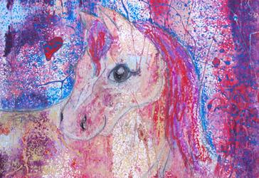 Kinderzimmerbild: Pinkes Pferd