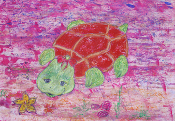 Kinderzimmerbild: Schildkröte - Little Walking Wolf