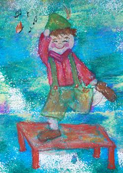 Kinderzimmerbild: Schuhplattler - Little Walking Wolf