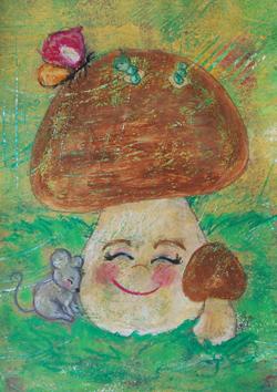 Kinderzimmerbild: Glücklicher Pilz - Little Walking Wolf
