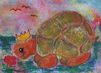 Kinderzimmerbild: Schildkröte mit Krone - Little Walking Wolf