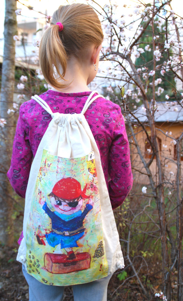 Kinder Rucksack / Turnbeutel Pirat - Little Walking Wolf