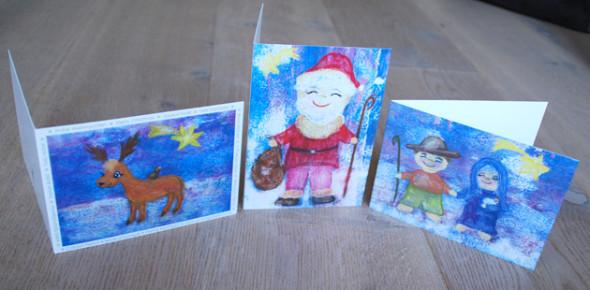 Weihnachten: Klappkarten Weihnachtsmann, Rentier, Heilige Familie - Little Walking Wolf