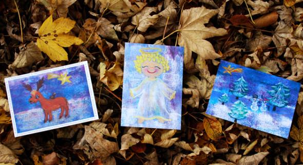 Weihnachten: Postkarten Engel, Rentier, Schneemänner - Little Walking Wolf