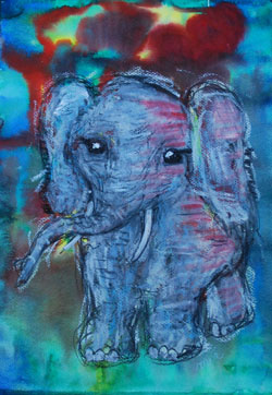 Kinderzimmerbild: Elefant - Little Walking Wolf