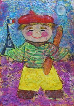 Kinderzimmerbild: Kleiner Junge (Frankreich) - Little Walking Wolf