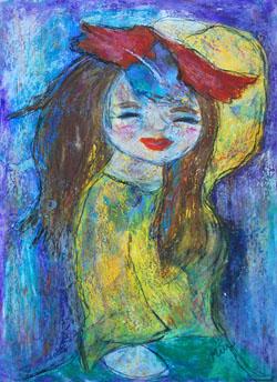 Kinderzimmerbild: Mädchen mit Hut - Little Walking Wolf