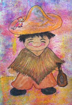 Kinderzimmerbild: Kind mit Geige - Little Walking Wolf